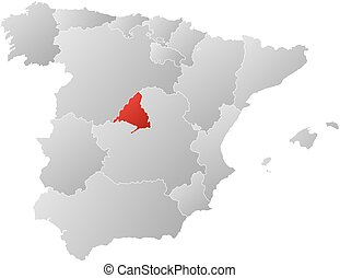 Map - Spain, Madrid - Map of Spain with the provinces,...