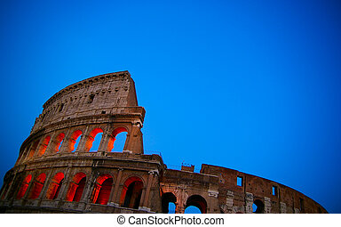 The colosseum in Rome, Italy, at dusk