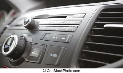 Buttons comfort in cars on the panel in slow motion