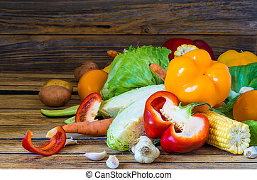 big bunch of fresh different vegetables
