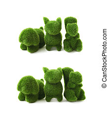 Green toy animals isolated - Toy animal statuettes made of...
