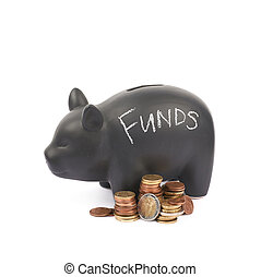 Ceramic piggy bank container isolated - Word Funds written...