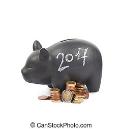 Ceramic piggy bank container isolated - Year 2017 written...