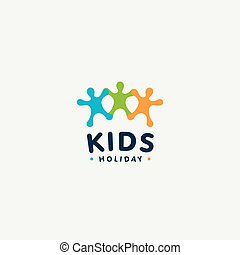 Isolated colorful kids silhouette vector logo. Abstract happy people logotype. Children illustration. Kindergarten emblem. Funny game sign.