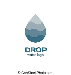 Isolated abstract blue color waterdrop vector logo. Water...
