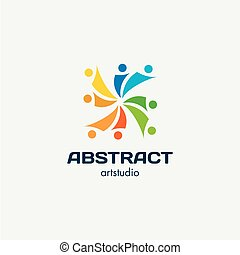 Isolated abstract square shape colorful vector logo. Spiral...