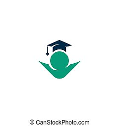 Isolated green color student contour in a blue cap vector...