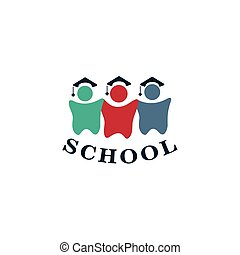Isolated colorful human silhouettes vector logo. School logotype.