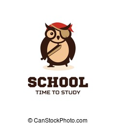 Isolated wise owl vector logo School logotype Cartoon...