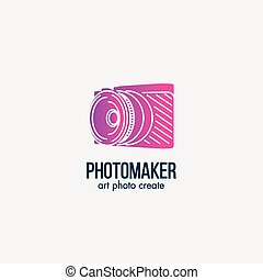 Isolated pink color photo camera silhouette vector logo....
