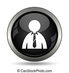 Business man icon Internet button on white background