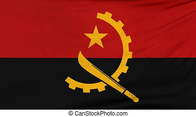 National flag of Angola flying on the wind - National flag...