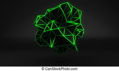 Green glow polygonal 3D shape on black. Loop
