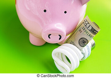 piggy bank, with efficient bulb and cash