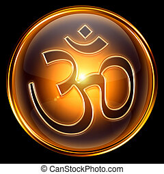 Om Symbol icon golden, isolated on black background.