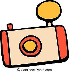 Retro camera icon or vintage camera in