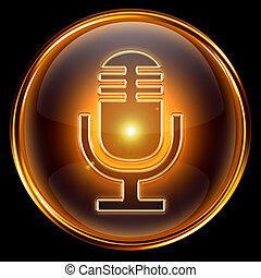 microfone, ícone, dourado, isolado, pretas, fundo