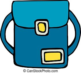 School bag icon isolated on white background in style hand...