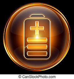 Battery icon golden, isolated on black background
