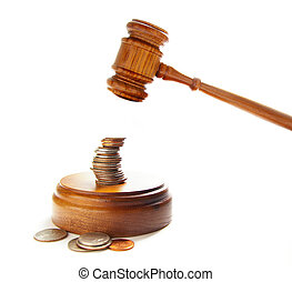 judges court gavel about to pound on money