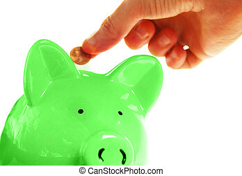 hand putting a penny into the piggy bank, on white