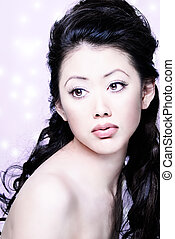 pretty asian female head shot - Pretty long hair Asian...