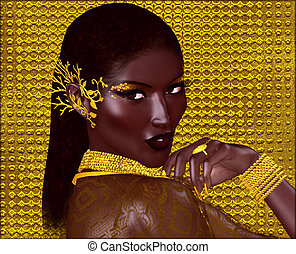 African American Fashion Beauty, Abstract. Perfect for...