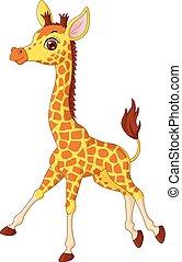 Little giraffe calf running