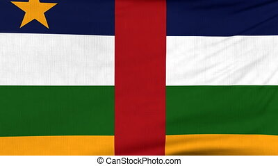National flag of Central Africa flying on the wind