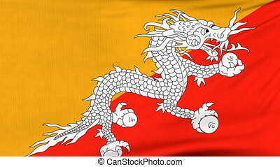 National flag of Bhutan flying on the wind - National flag...