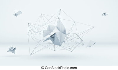 Futuristic polygonal 3D shape in white studio. Loop