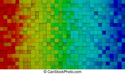 Rainbow gradient cubes 3D render loopable animation - Bright...