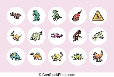 Dinosaurs icons set,eps10
