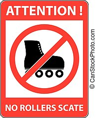 No skate, rollerskate prohibited symbol Vector - No skate,...