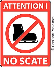 No ice skate, ice-skate prohibited symbol Vector - No ice...