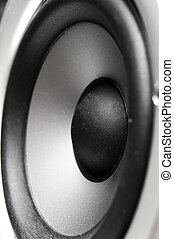 closeup of a stereo speaker woofer, from the side