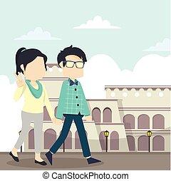couple walk italy