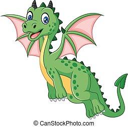 Cartoon funny green dragon flying - Vector illustration of...
