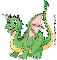 Cartoon funny green dragon - Vector illustration of Cartoon...