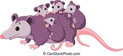 Cute cartoon possum with childs - Vector illustration of...
