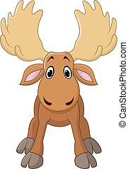 Cartoon happy moose with big horns - Vector illustration of...