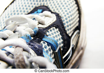 Closeup of the top of a running shoe