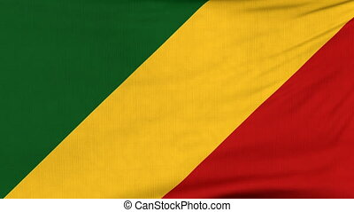 National flag of Congo flying on the wind - National flag of...