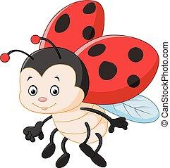 Cartoon ladybug waving - Vector illustration of Cartoon...