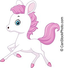 Cute baby pony jumping - Vector illustration of Cute baby...