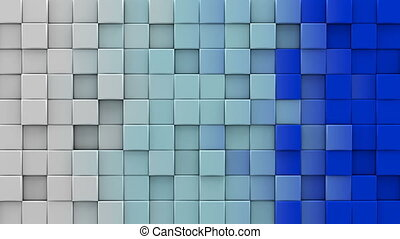 White and blue cubes 3D render loopable animation - White...