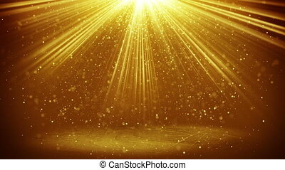 gold light beams and particles loopable background - gold...