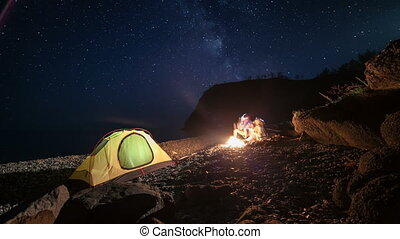 Moving stars above tent at night time lapse - Moving stars...