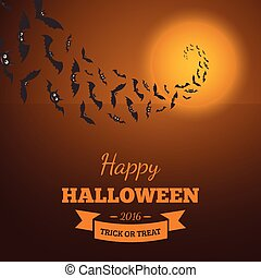 Flying bats ane text block - Halloween party background...