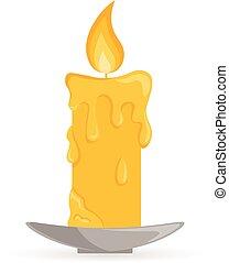 Burning candle light. - Halloween symbol isolated on white....
